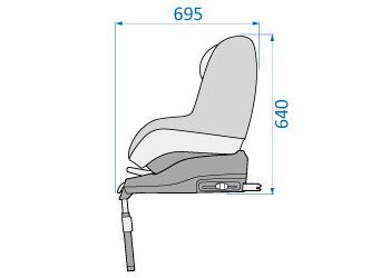 Pearl Car Seat height & width with base